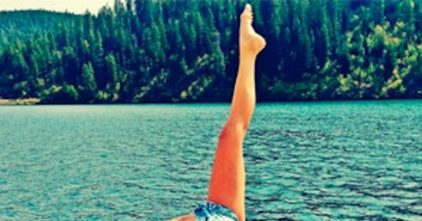 Nina Dobrev Shows Off Her Swimsuit Clad Yoga Stretch See