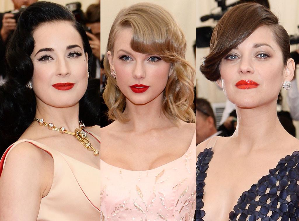 MET Gala, Cherry Red Lips, Marion Cotillard, Dita von Teese, Taylor Swift