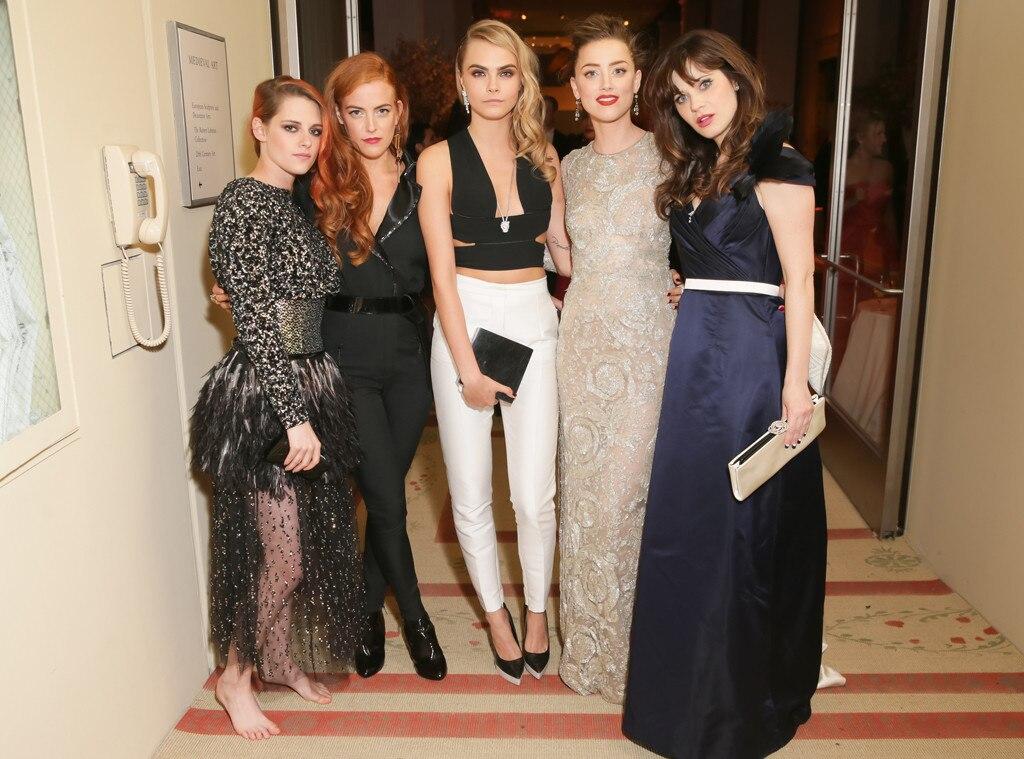 Met Gala, Famous Friends, Kristen Stewart, Riley Keough, Cara Delevingne, Zooey, Amber Heard, Zooey Deschanel