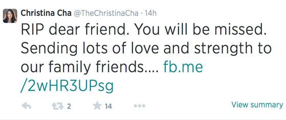 Christina Cha, Tweet, Caleb Bankston
