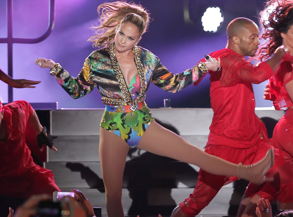Jennifer lopez wears sexy colorful bodysuit at - Swimming pool wardrobe malfunction ...