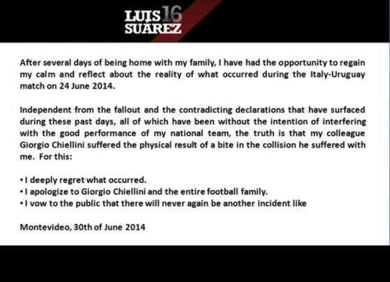 Luis Suarez, Twitter Apology