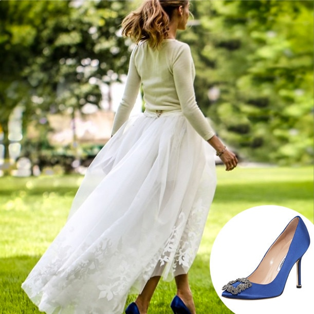 manolo blahnik wedding shoes blue