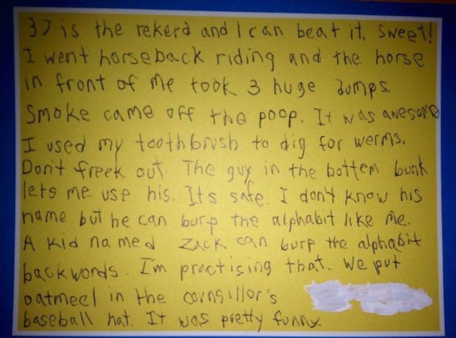 Kid's summer camp letter