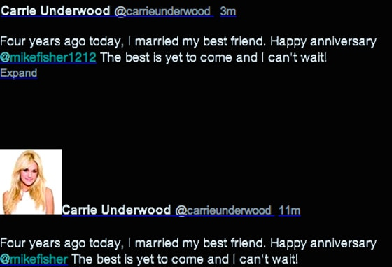 Carrie Underwood, Mike Fisher, Twitter