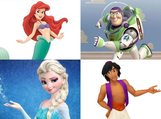 Ariel, Buzz Lightyear, Princess Elsa, Aladdin