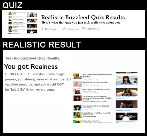 Real Quizzes Realistic Results From Realistic Buzzfeed
