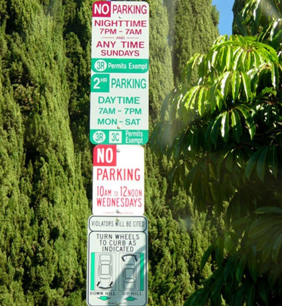 Los Angeles, Parking Street Signs