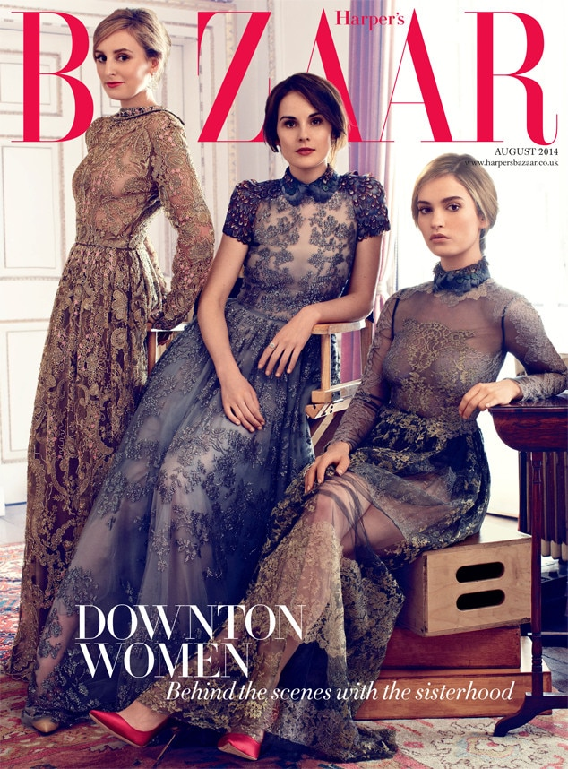 Downton Abbey, Harper's Bazaar, Laura Carmichael, Michelle Dockery, Lily James