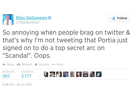 Portia De Rossi, Ellen DeGeneres, Scandal, Twitter