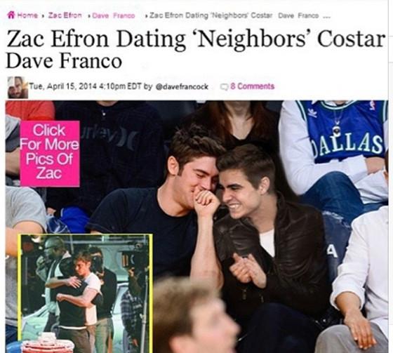 Zac Efron, Dave Franco, Dating