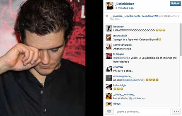Orlando Bloom, Justin Bieber Instagram