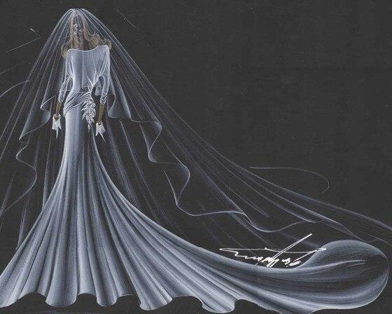 Amal Alamuddin, Wedding Dress Sketch, Georges Chakra