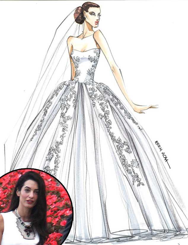 Amal Alamuddin, Wedding Dress Sketch, Reem Acra