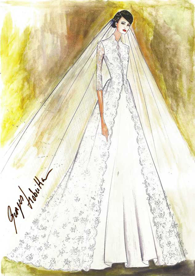 Amal Alamuddin, Wedding Dress Sketch, Georges Hobeika