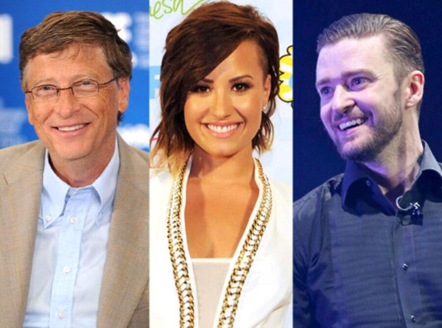 Bill Gates, Demi Lovato, Justin Timberlake