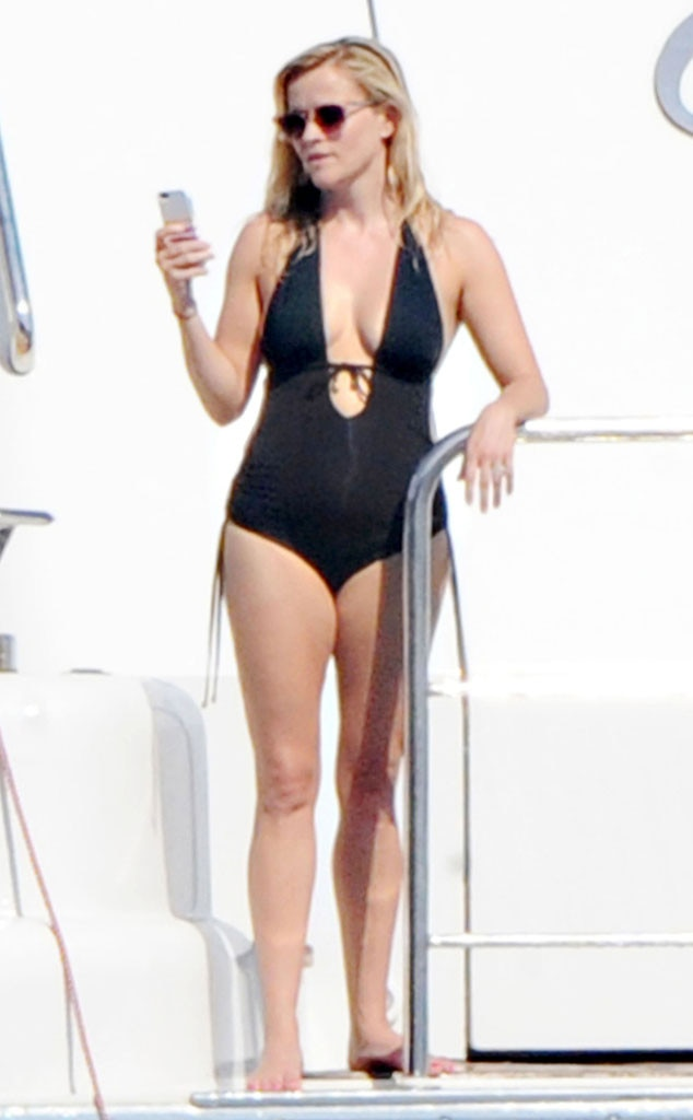 Reese witherspoon flaunts major cleavage in sexy swimsuit for See hot images