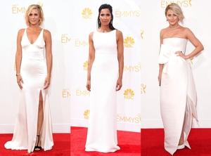 White Column Gowns, Kristen Wiig, Padma Lakshmi, Julianne Hough, Emmy Awards 2014