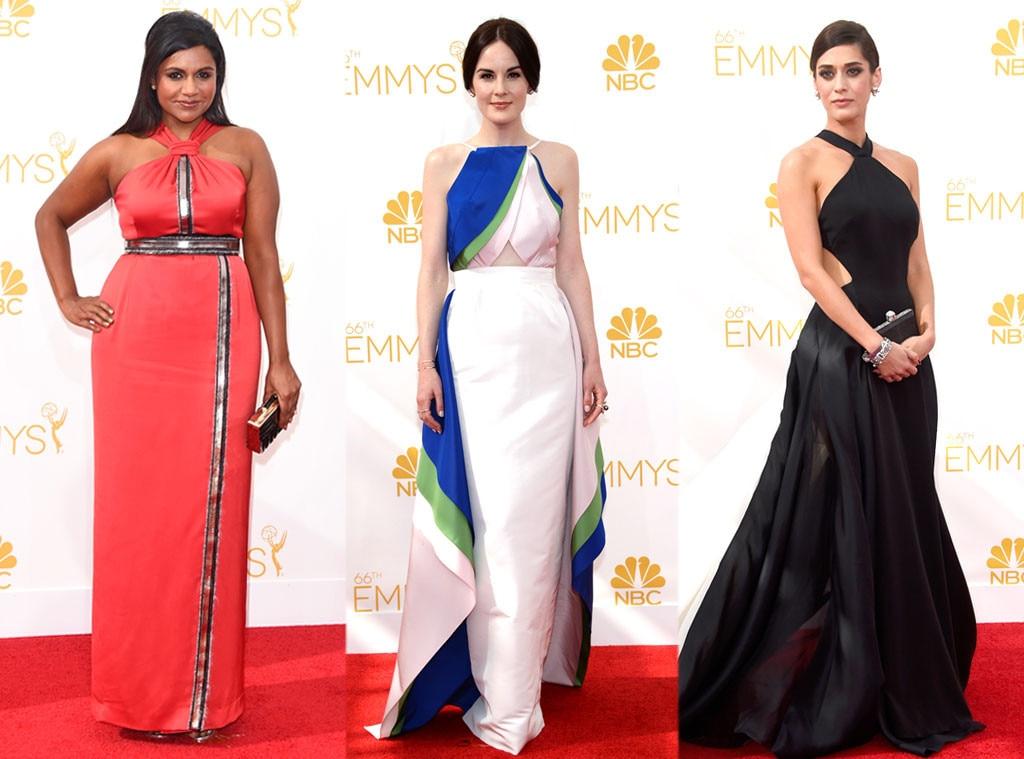 Halter Dresses, Mindy Kaling, Lizzy Caplan, Michelle Dockery, Emmy Awards 2014