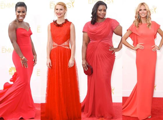 Uzo Aduba, Claire Danes, Octavia Spencer, Heidi Klum, Emmy Awards 2014, Red Dresses