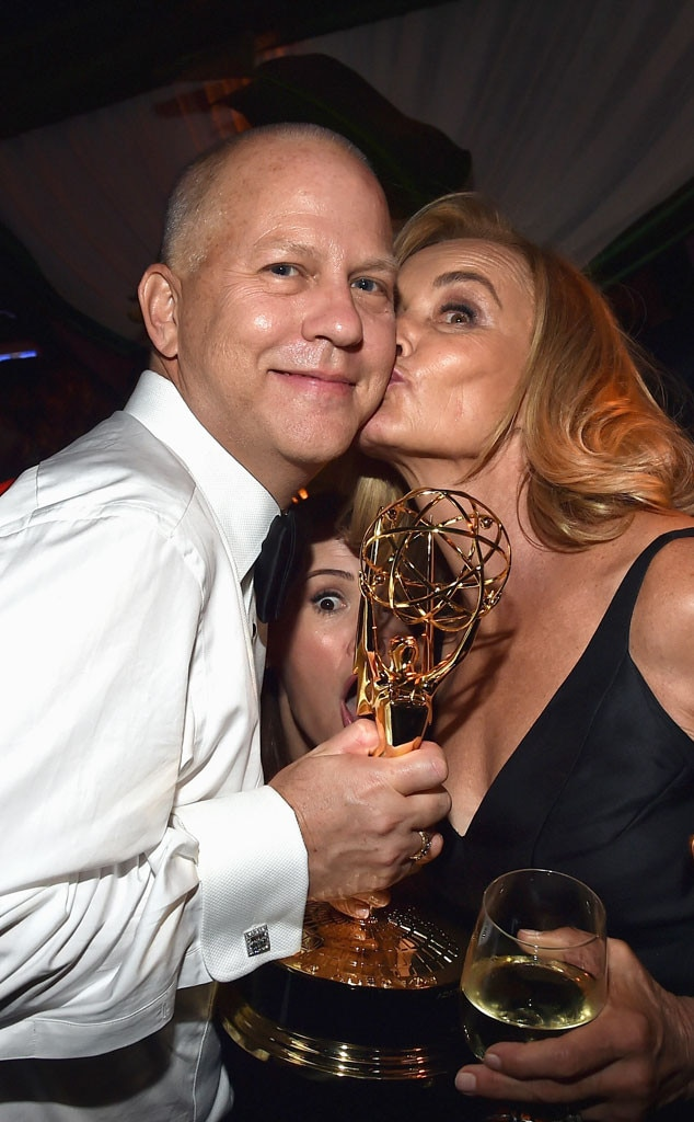 Ryan Murphy, Sarah Paulson, Jessica Lange, 2014 Emmy's, Party Pics, Photobomb