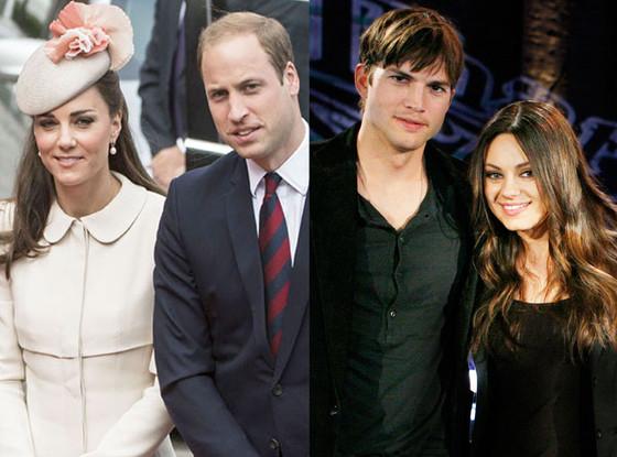 Summer Couples, Prince William, Kate Middleton, Ashton Kutcher, Mila Kunis
