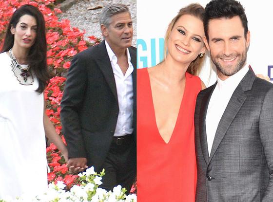 George Clooney, Amal Alamuddin, Behati Prinsloo, Adam Levine, Summer Couples