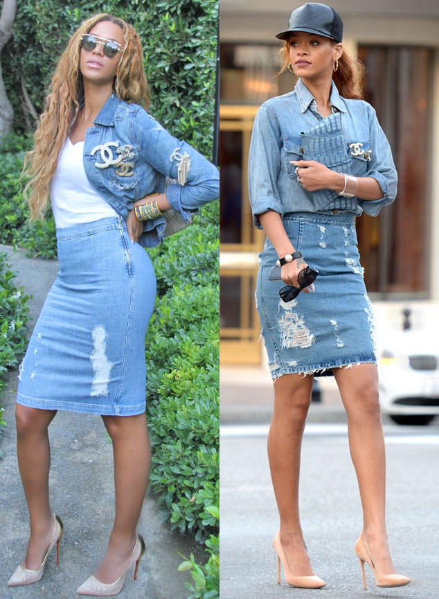 Beyonce, Rihanna, Denim Outfit