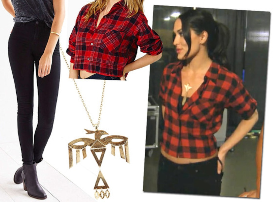 Nikki bella 39 s sexy stripes brie bella 39 s cute plaid and more total divas styles get the hot Nikki bella fashion style
