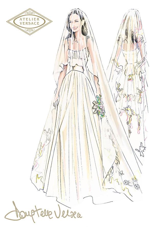 Angelina Jolie, Wedding Dress Sketch