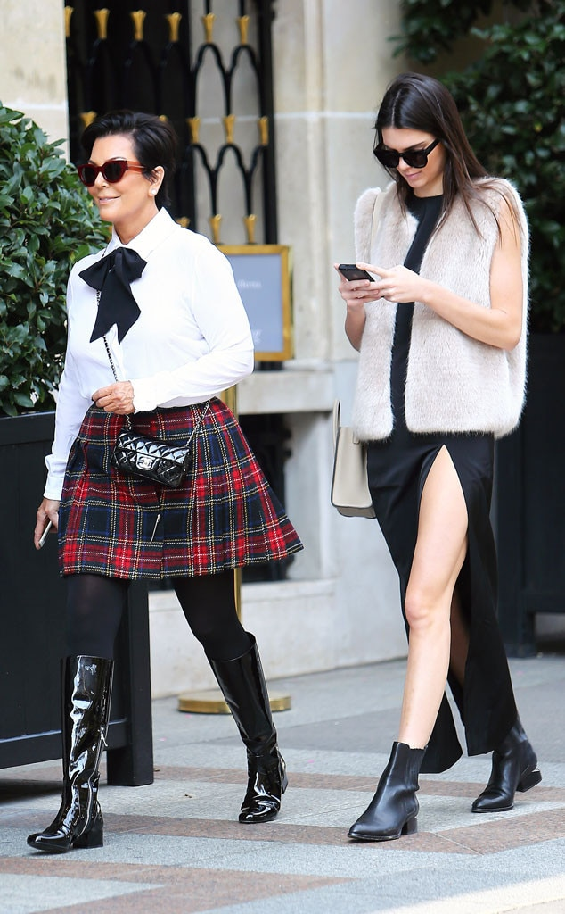 Kris Jenner And Kendall Jenner Showcase Chic Looks In Paris During Fashion Week After Divorce