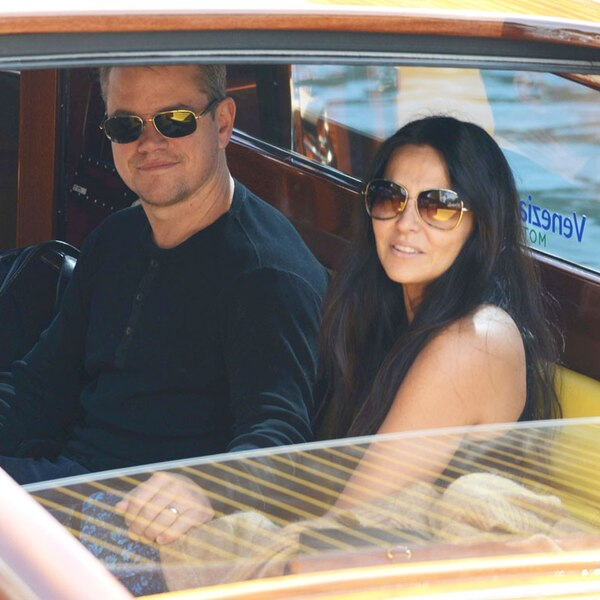 Matt Damon And Luciana Barroso From George Clooneys Wedding Weekend Celebrity Guests