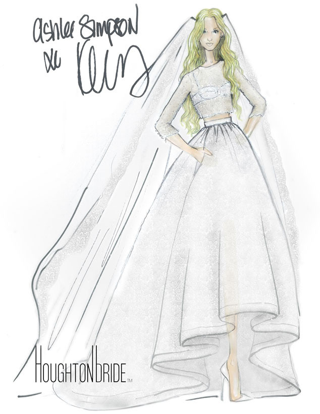 Ashlee simpsons boho chic wedding dress all the details on her ashlee simpson houghton bridal sketch junglespirit Gallery