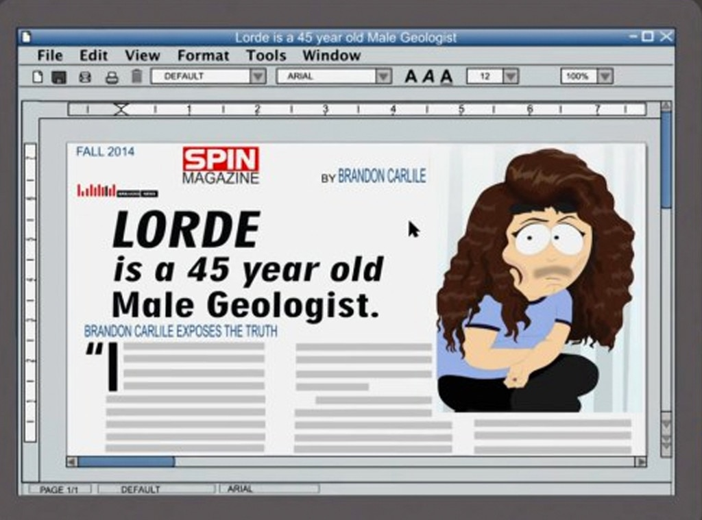 Lorde, South Park