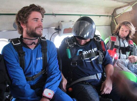 Liam Hemsworth, Nylon Guys, Skydiving