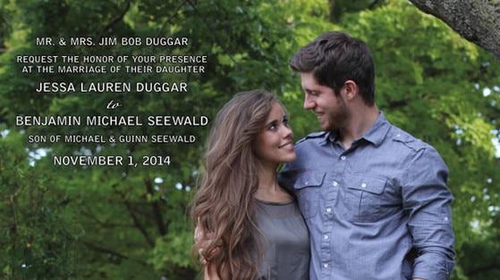 Jessa Duggar, Benjamin Seewald, Wedding Invitation