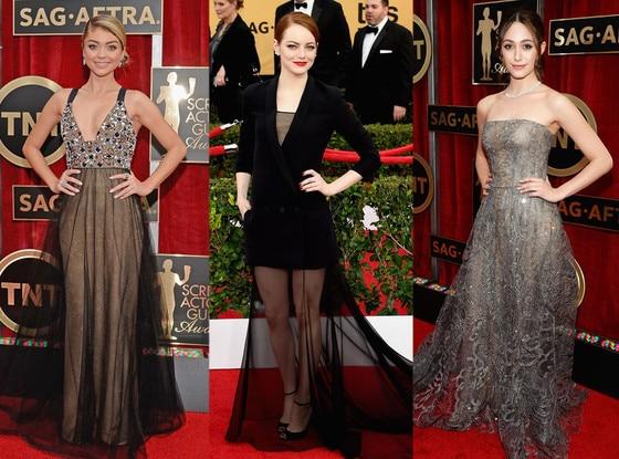 Sheer Overlay Gowns, SAG Awards
