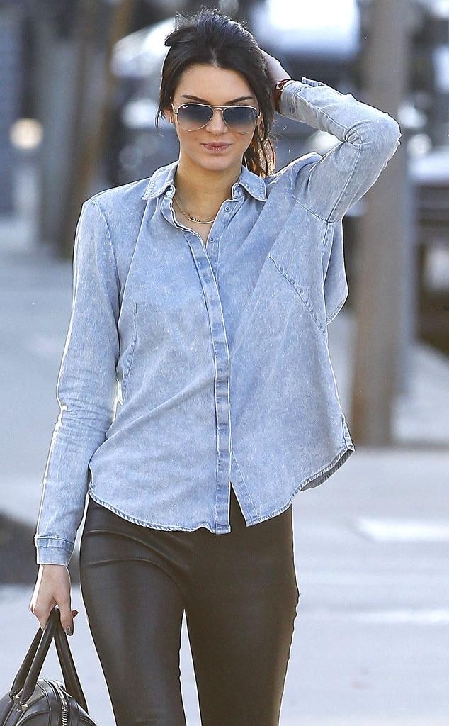 Denim Leather From Kendall Jenner 39 S Street Style E News