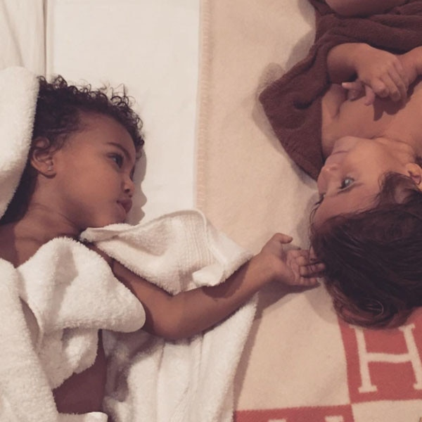 North West and her baby brother Saint West