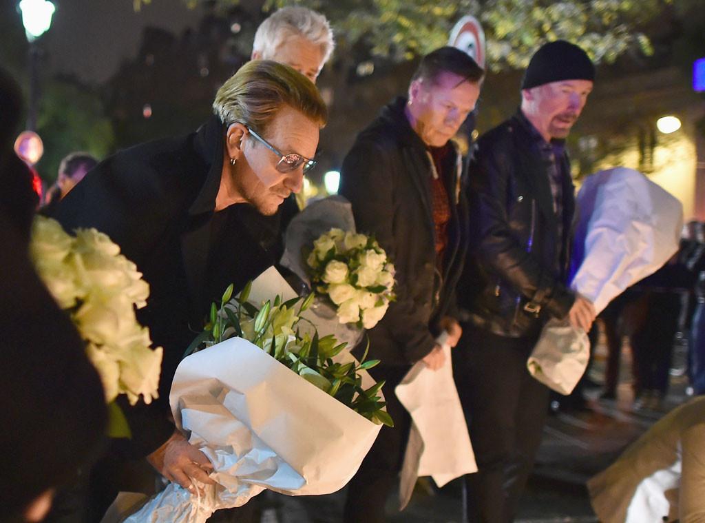 U2, Bono, The Edge, Larry Mullen Jr., Adam Clayton, Paris Attacks Tribute
