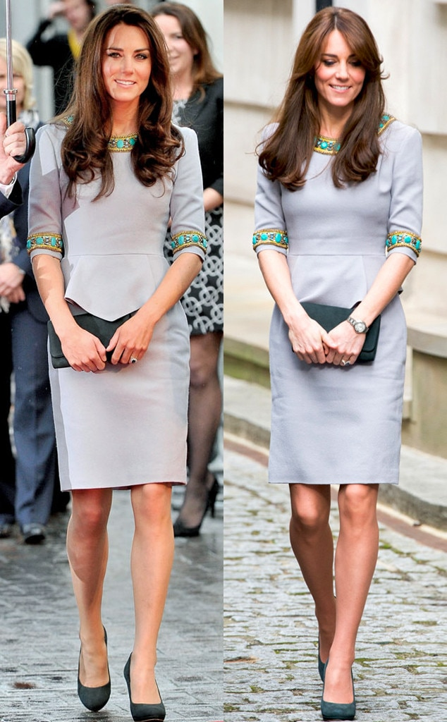 Kate Middleton Recycles Her Favorite Sleek Gray Dress And