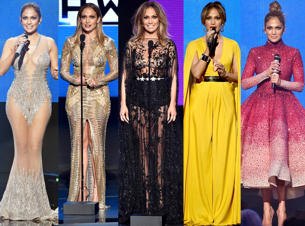 All Of Jennifer Lopez 39 S Sexy And Cleavage Baring Outfits From The 2015 American Music Awards E