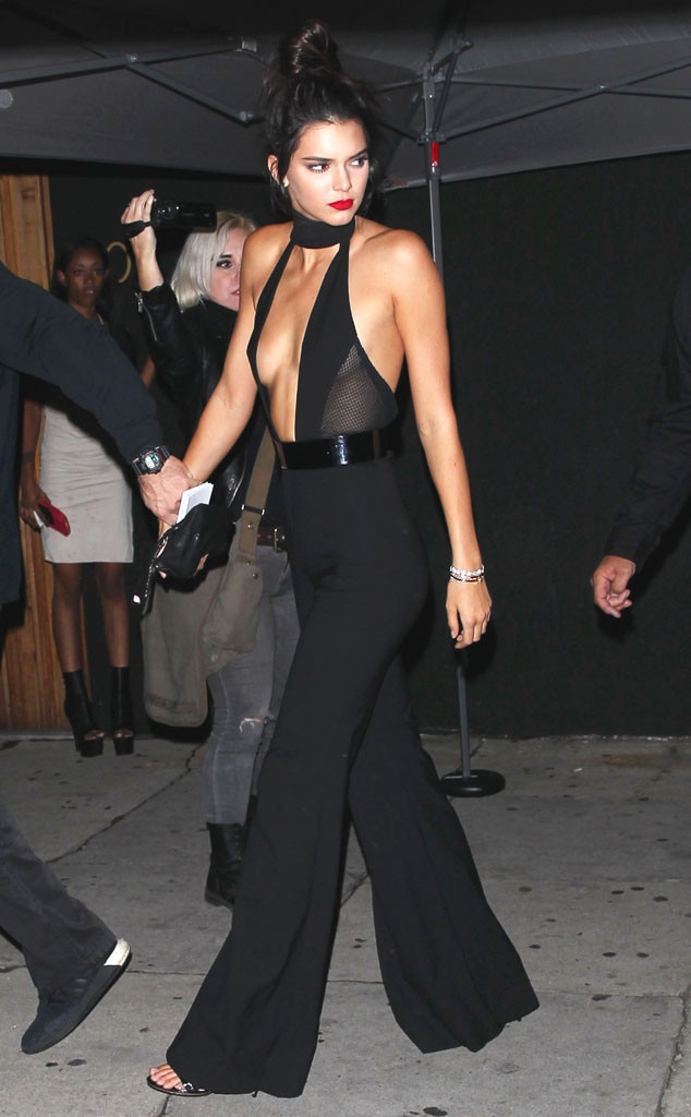 kendall jenner stuns in a plunging jumpsuit while