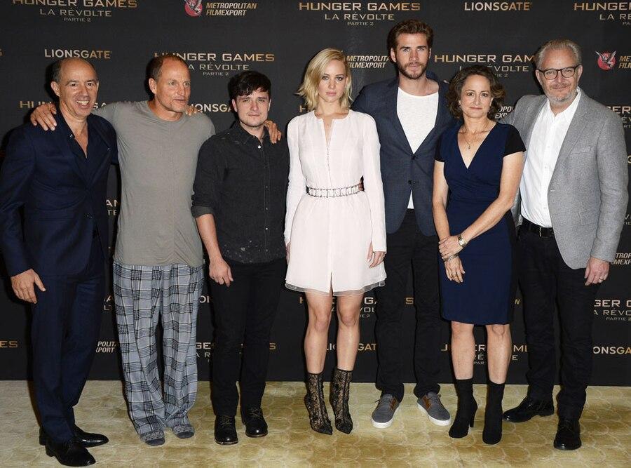 Jon Kilik, Woody Harrelson, Josh Hutcherson, Jennifer Lawrence, Liam Hemsworth, Nina Jacobson, Francis Lawrence, Hunger Games