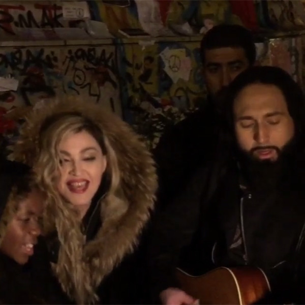 Madonna, Son David, Guitarist Monte Pittman, Paris Performance