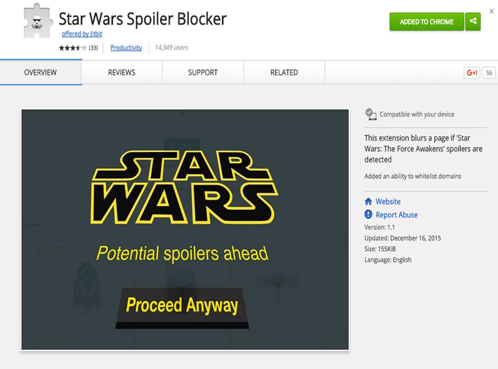 Star Wars Spoiler Blocker, Google Chrome