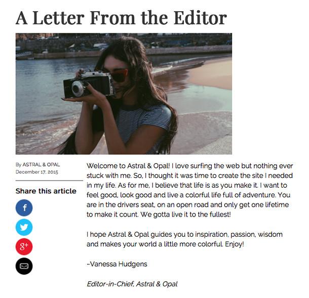Vanessa Hudgens, Letter from the Editor