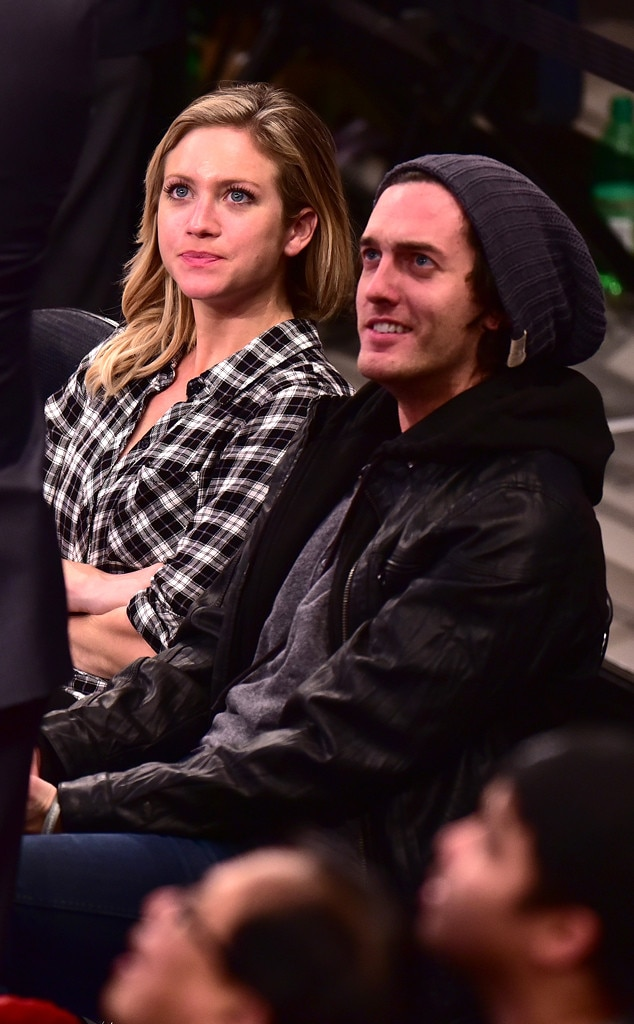 Britanny Snow and her boyfriend Andrew Jenks during the New York Knick's game