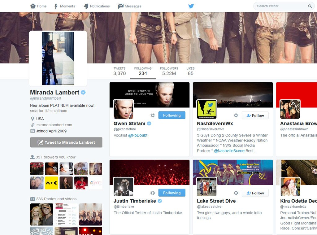 Miranda Lambert, Gwen Stefani, Twitter