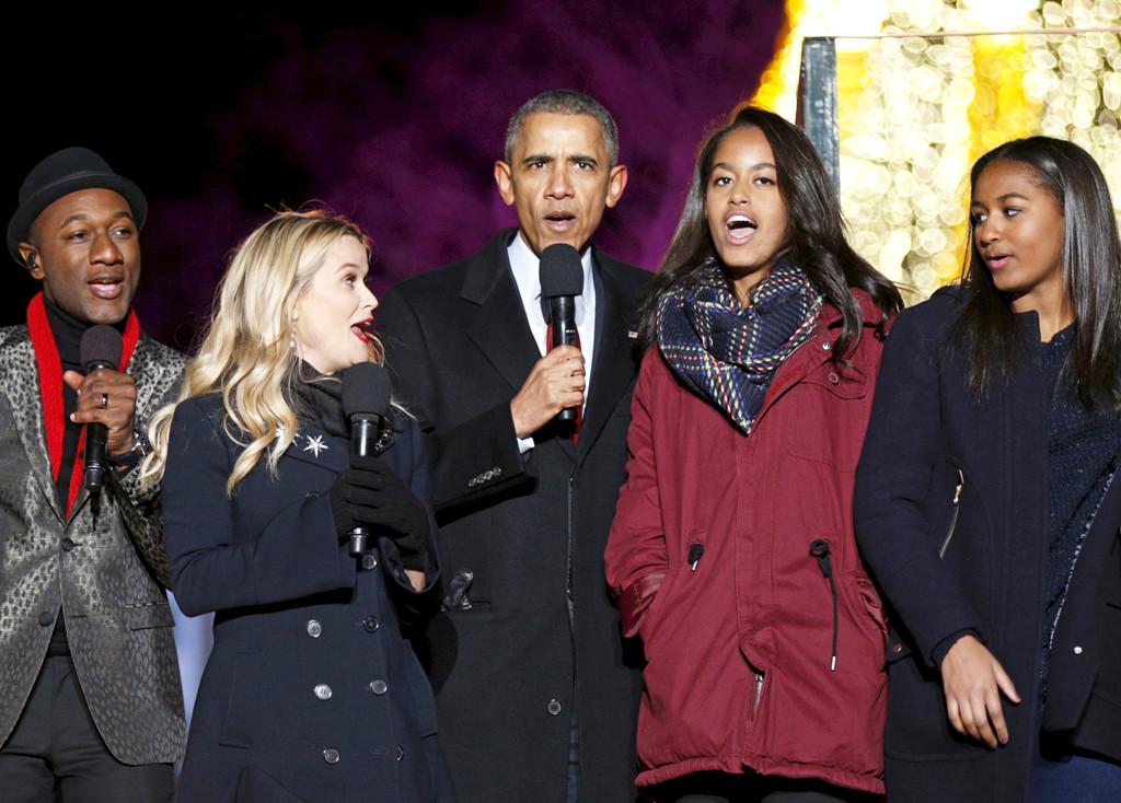Barack Obama, Aloe Blacc, Reese Witherspoon, Malia Obama, Sasha Obama
